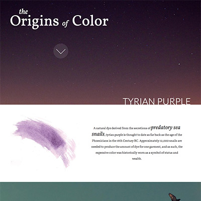 origins of color website screenshot